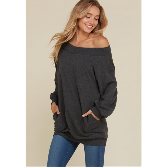 01c158a7aed792 Tops | Black French Terry Off One Shoulder Top | Poshmark